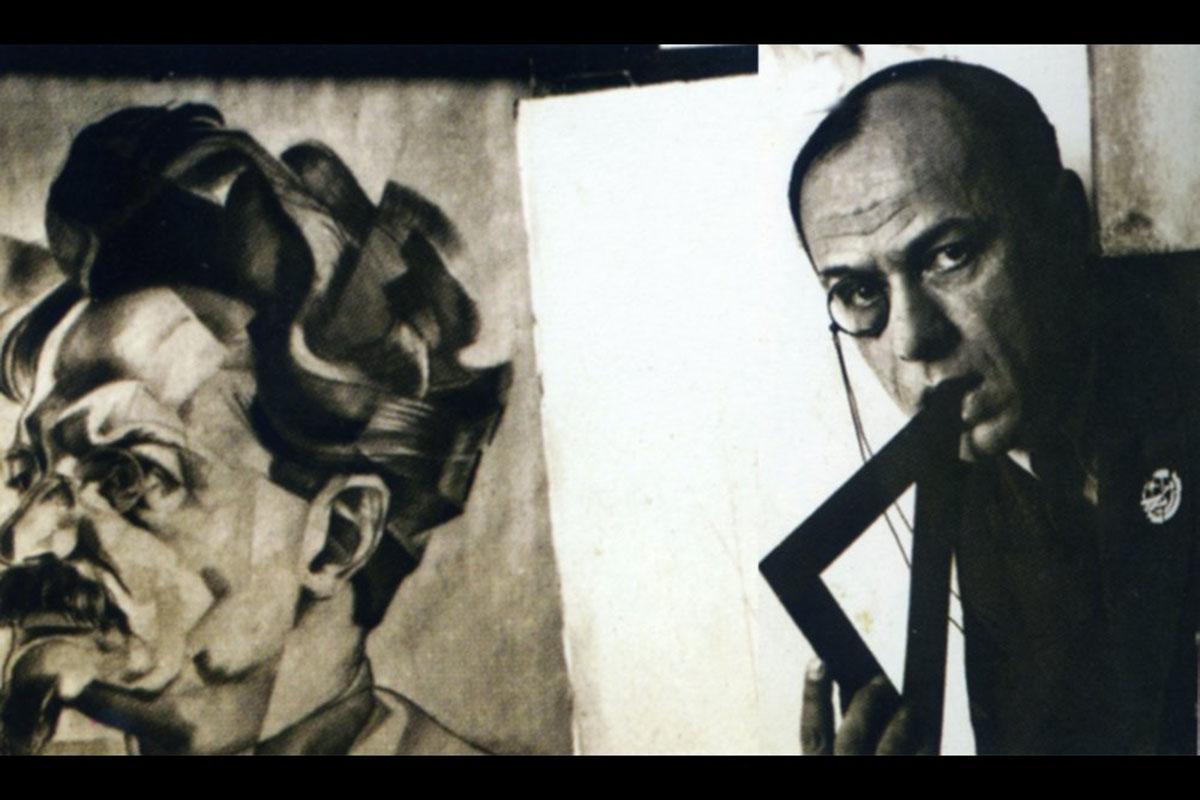 Юрий Анненков с портретом Льва Троцкого