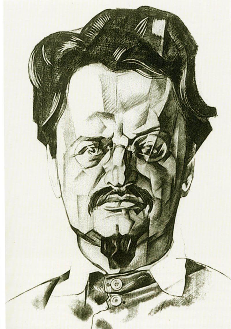 Юрий Анненков. Графический портрет Льва Троцкого, 1923 год. Подготовка для масштабного портрета