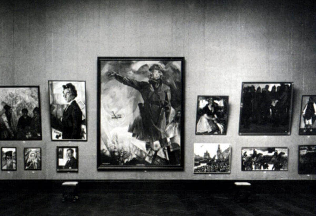 Портрет Л. Троцкого, созданный Ю. Анненковым, среди других работ художника на Венецианской биеннале, 1924 год